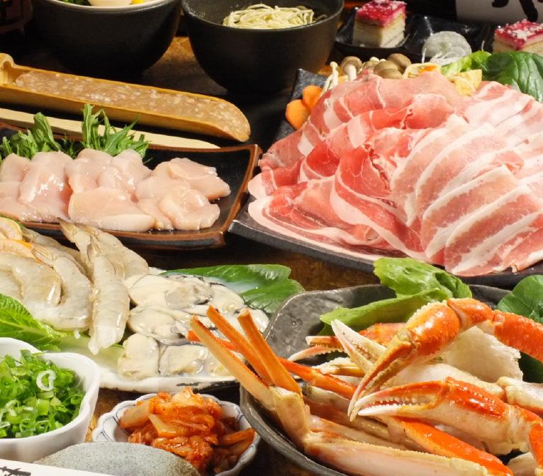 海老・帆立・牡蠣カニを食す!ごちそう海鮮鍋DXコース2時間飲み放題コース